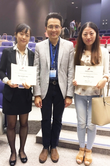 Prof. Zhou Jingying (left), Dr. Liu Man (right) and their supervisor Prof. Alfred Cheng (middle)